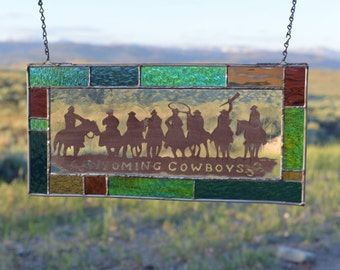 Wyoming Cowboy Ropers and Horses Stained glass Hand Painted Decorative Panel (Can Also Customize the Text)