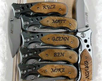 Pocket Knife Engraved Tactical Knife ( Set of 1 ) Rescue Knife , Monogram Engraving ,Groomsman Gift ,Camping Knife - Folding Knife