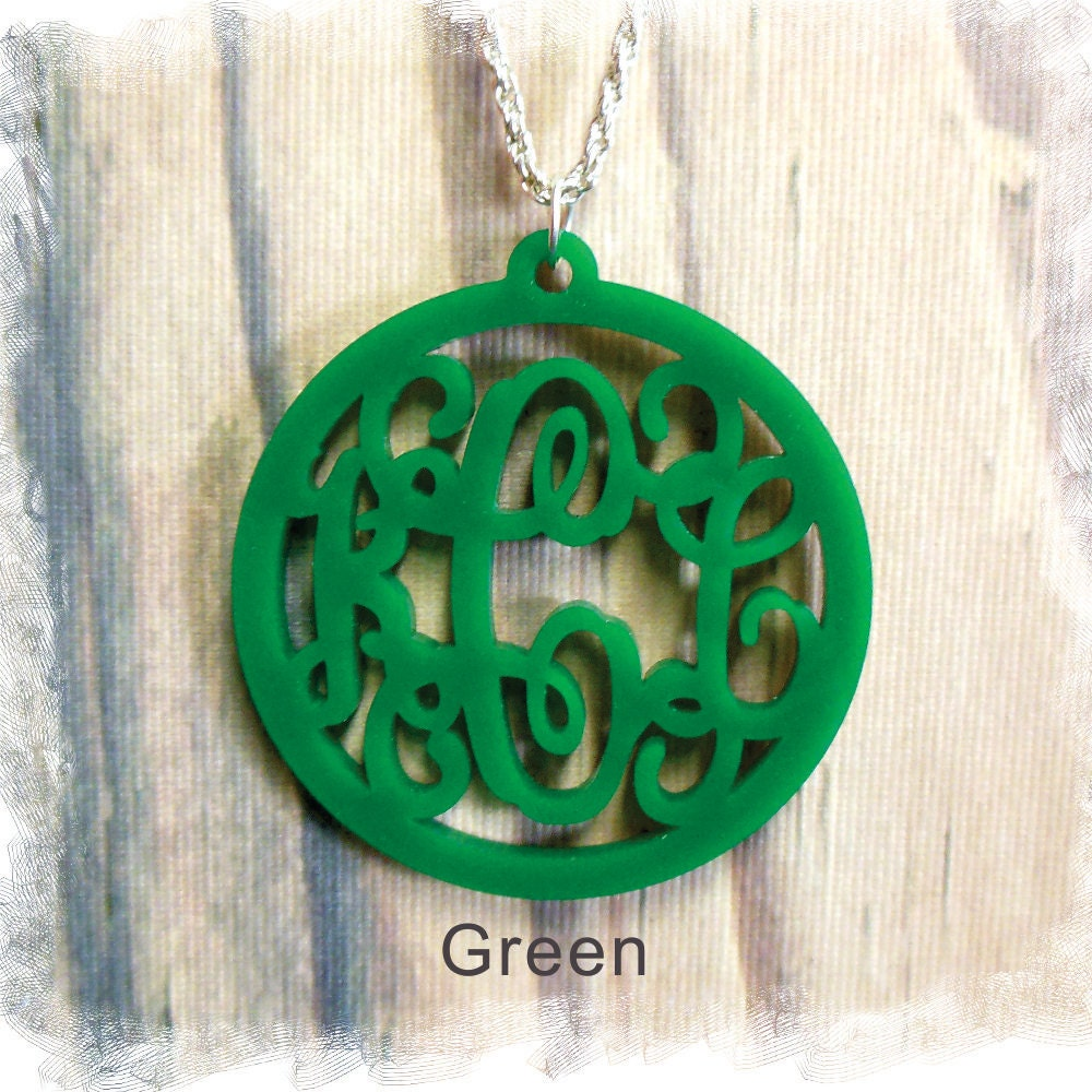 Acrylic monogram necklace vine monogram 3 initial name for Acrylic letter necklace