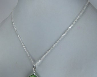 Christmas Sale,  Heart Peridot Pendant with Chain, August Birthstone Necklace