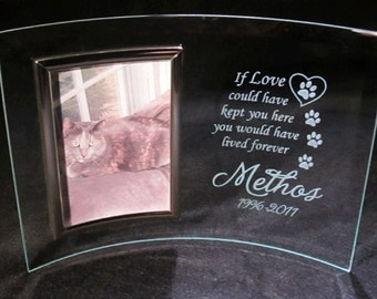 pet memorial frame cat memorial frame personalized pet memorial frame 3x5 curved glass frame cat frame dog frame