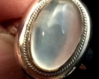 Size 7 Sterling Silver Ring. Purple Amethyst, Pale Blue Topaz or Moonstone.  free US ship
