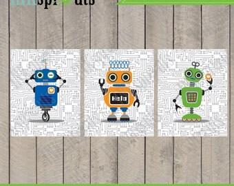 INSTANT DOWNLOAD, Robot Prints, Andriod, Circuit print, Robots, boys room, Nursery Prints, Robot art, Item 028D