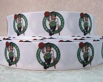 Celtics Ribbon 7/8 Grosgrain Ribbon by the Yard for Hairbows, Scrapbooking, and More!!
