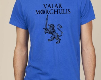 Valar Morghulis medieval lion sword men tshirt tee t shirt Game