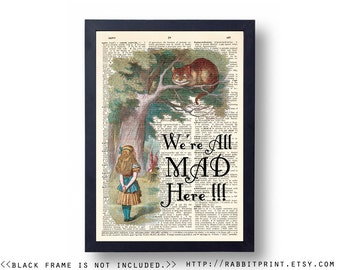 We're all mad here Wall Art Print, Alice in Wonderland Quote Dictionary Page Print, Home Wall Decor, Decal, Art Poster, Old Paper Print