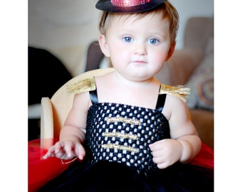 Adorable Circus Ringleader Ringmaster Costume Tutu Dress with Top Hat for Baby Girl 6-18 Months Old First Halloween Baby Halloween