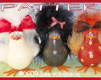 INSTANTLY DOWNLOAD pdf epattern chicken recycled Light Bulb gourd farm bird barnyard hen crow ofg prim chick pattern 726 Shabby Chicks