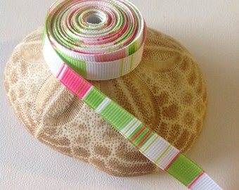 "3 Yards of 3/8"" Grosgrain Ribbon, White, Pink & Lime Green Pattern"