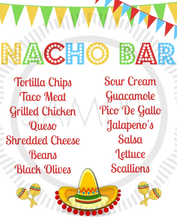 Fiesta / Taco / Cinco De Mayo / Taco Bar / Nacho Bar Party