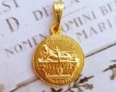 Medal - Saint Mary Magdalene on Rock of Penitence 18K Gold Vermeil Medal - 21mm