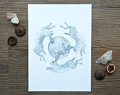 "Three Hares Archival Art Print - 5"" x 7"" - Graphite Drawing - Black and White Illustration"