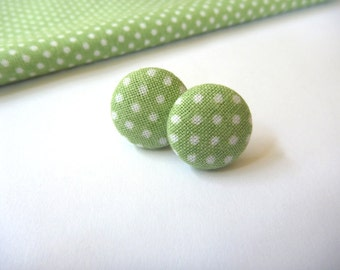 Green Polka Dot Fabric Button Post Earring.