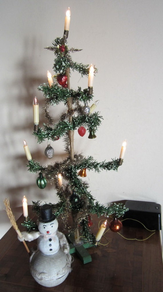 Antique German Christmas Tree Early Electrical Tree