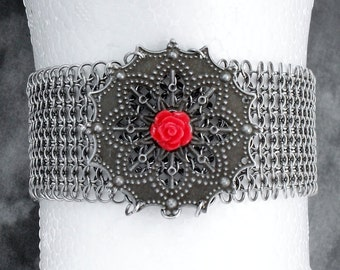 Amber's Corset Necklace - Stainless Steel Chain Mail Choker with Snowflake Embellishment, Red Rose & Ribbon