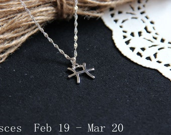Pisces Constellation Necklace. Pisces Necklace, Zodiac Sign Necklace. February Birthday. March Birthday.