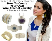 ON SALE! 10 dollars 4 ebooks and  videos Wire Jewelry Tutorials - Wire Crochet Jewelry Course: Bracelets, Pendants, Rings and Earrings