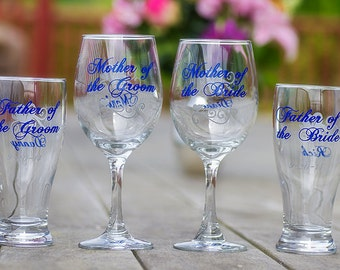 Mother of the Bride, Father of the Bride, Mother of the Groom, Father of the Groom, beer glass, wine glass. King Blue. Priced individually