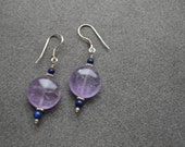 Amethyst Disc, Lapis Lazuli and Sterling Silver Accents Earrings with Sterling Silver Ear Wire and Embellishments
