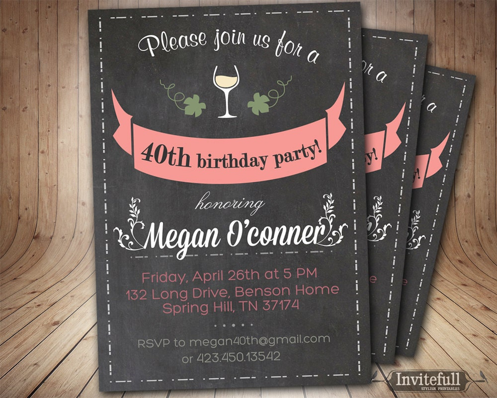 40th birthday invitations for her