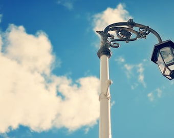 Edinburgh III, original fine art photography, print, urban landscape, 8x12, scotland, lamp post, sky, cloud, blue, white, city