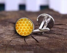 Honey Cufflinks, Honeycomb Cuff Links, Bee Cufflinks, Silver Plated Bee Cuff Links, Accessories For Men, Men Jewelry, Honey Comb Orange Gift