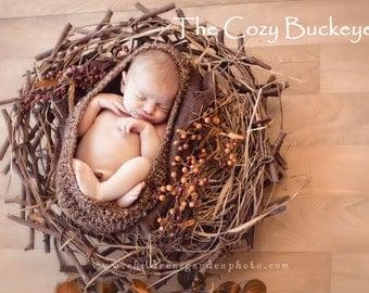 Handmade Crochet Newborn Baby Pod Nest Bowl Photography Prop