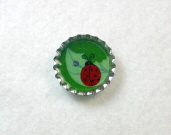 Ladybug on a Leaf Bottlecap Pin or Magnet