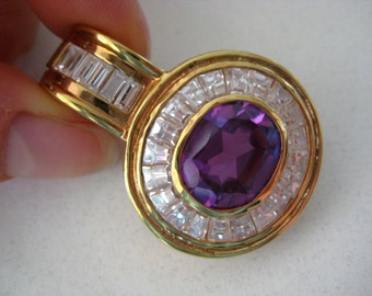 Gold tone 925 sterling silver purple and clear Crystal Pendant, great condition!