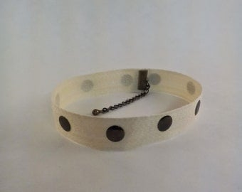 Cream & Bronze Circle Choker
