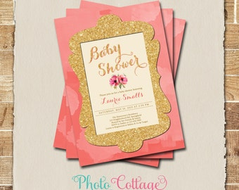 coral wedding invite | etsy, Wedding invitations