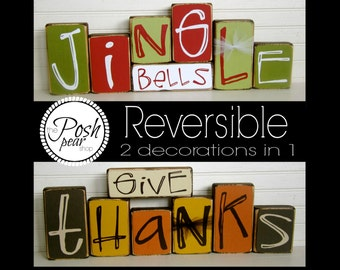 Give Thanks / Jingle Bells Reversible Double Sided Blocks Set 2 Decorations in 1 Fall Decorations Christmas Decorations 1 READY to SHIP