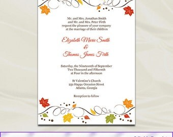 Fall Wedding Invitations Template Diy Autumn Leaves Rustic Birthday Party Invites Printable Editable Text