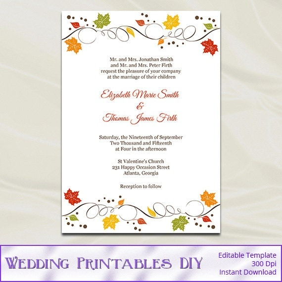 fall wedding invitations template diy autumn leaves rustic