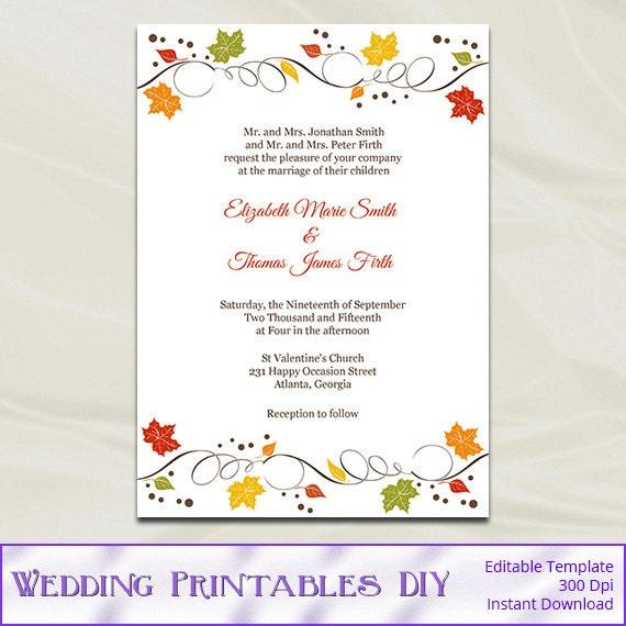 Fall Wedding Invitations Template Diy Autumn Leaves Rustic – Diy Fall Wedding Invitations