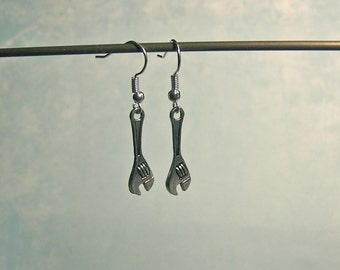 Wrench Earrings~ Wrench jewelry; wrench charm; wrench; tool charm; mechanics jewelry; tools; tool earrings; tool jewelry; Ms Fixit