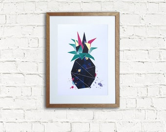 Pineapple with gold leaf A3 Print [Fuchsia], 320 x 450mm unframed. Fits A3 frame.