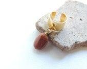 Goldstone Ear Cuff, Gemstone Dangle Ear Cuff, Gold Ear Cuffs, Cartilage Earring, Non-Pierced Earring, Stone Jewelry. 158