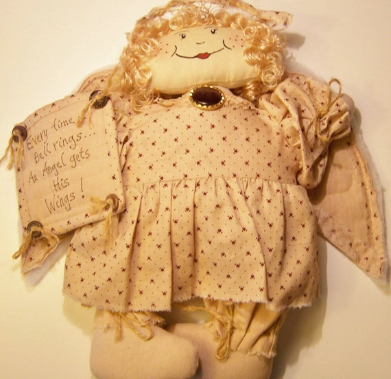 Country Primitive Angel, Country Fabric Angel, Collectible Angel, Wonderful Life, Quilted, Home & Living, Country Decor