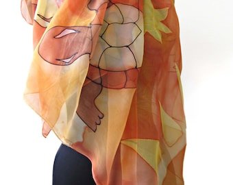 Paint by hand silk scarf square. Sea turtle scarf. Hand painted square scarf in orange, yellow, brown. Turtle bandana. Hand painted bandana.