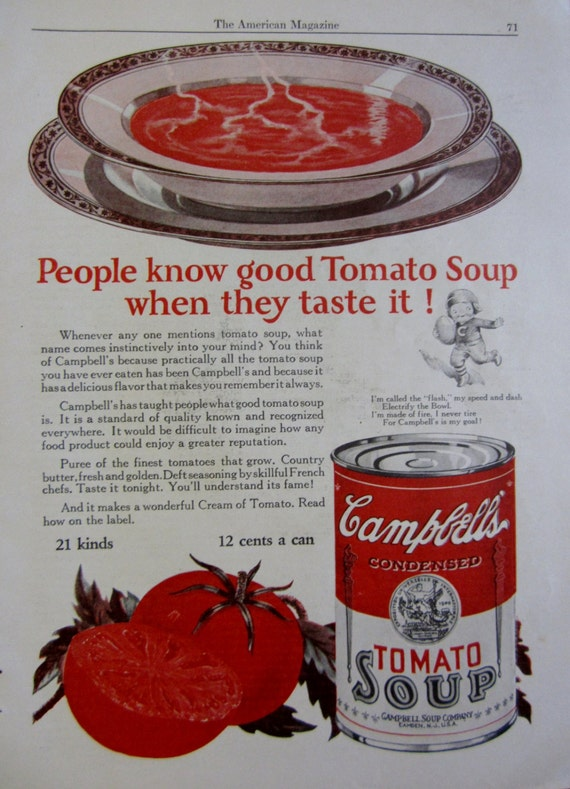 1925 campbell 39 s tomato soup vintage advertisement kitchen. Black Bedroom Furniture Sets. Home Design Ideas