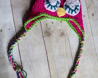 Sleepy Owl Hat with Earflaps and Braids
