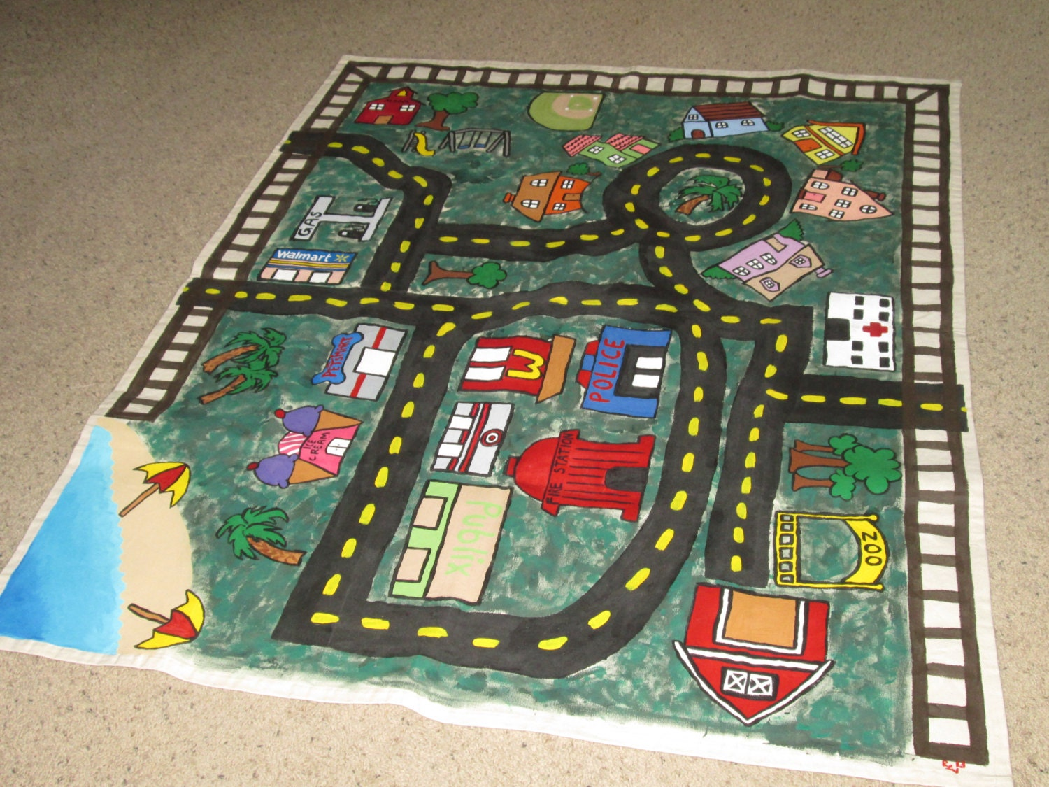 Children S Car Play Mat Hand Painted Creative Play