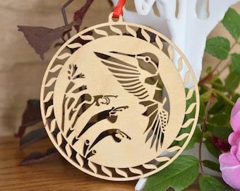 Hummingbird ornament wooden hummingbird mint flower Wood-cut hummingbird decoration