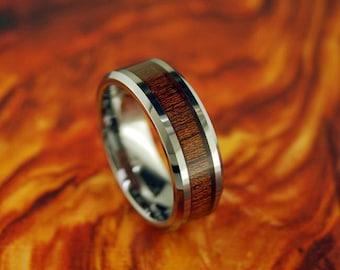 8mm Beveled Tungsten Ring With Koa Wood Inlay Wedding