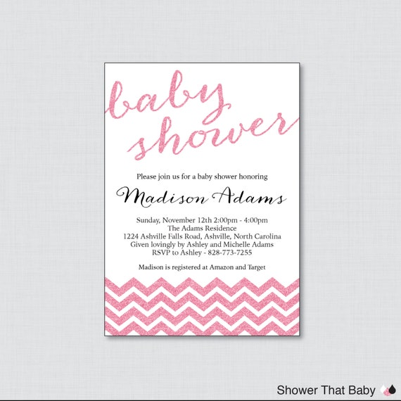 glitter baby shower invitations in pink glitter chevron pink baby
