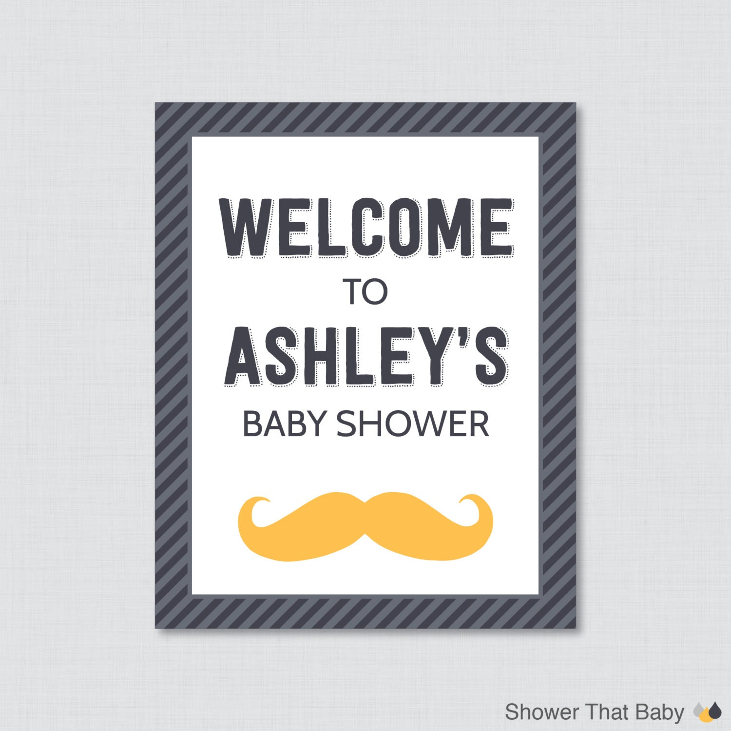 mustache baby shower welcome sign printable personalized