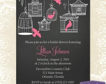 Pink Bridal Shower Invitation - Hanging Bird Cage Bridal Shower Invite - Birds Chalkboard Wedding Shower Invitation - 1155 PRINTABLE