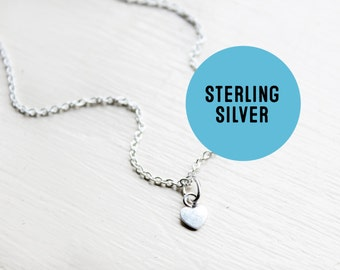 Tiny sterling silver heart charm- Teeny sterling love heart lover pendant necklace chain.