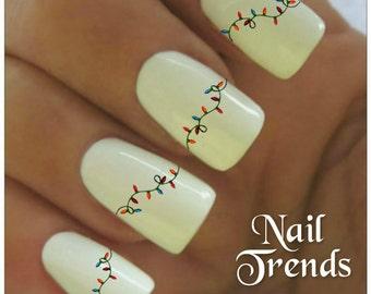 Christmas Lights Nail Decal  Vinyl Adhesive Decals Nail Tattoos  Nail Art